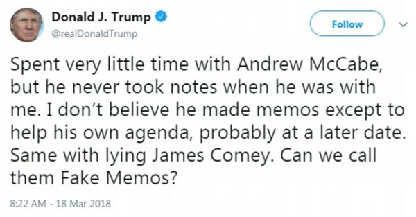 President Trump slams Comey over fake memos
