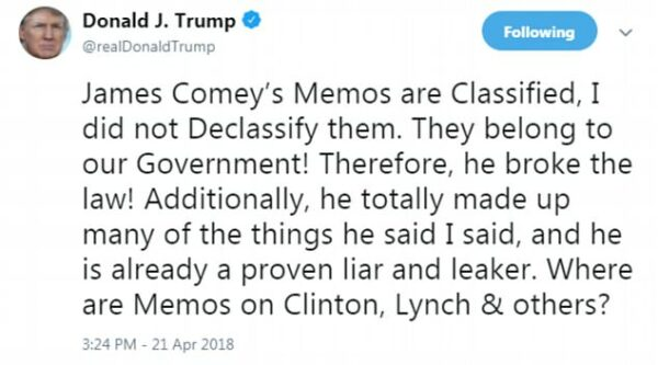 Trump tweet on the Comey leak of classified memos in 2017
