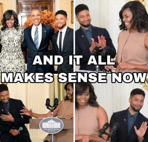 Smollet and the Obamas, along with his Aunt Kamala Harris; They're all tied together